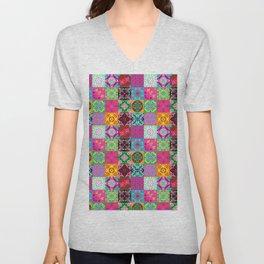 Bohemian Jungle Quilt Tiles Unisex V-Neck