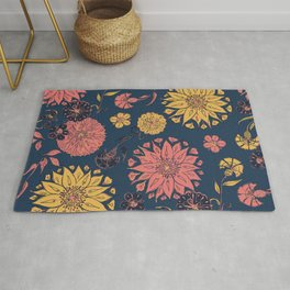 Multi-Florals in Blue & Coral Rug