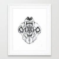 animal skull Framed Art Prints featuring animal skull by Travis Sallaway