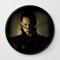 loki Wall Clocks featuring Loki by LindaMarieAnson