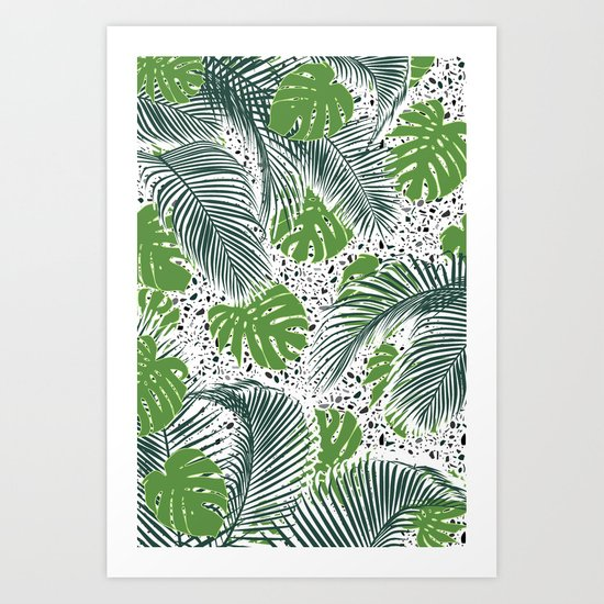 Green tropical leaves on terrazzo pattern Art Print