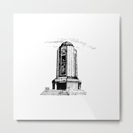 Old Mausoleum Ink Art Metal Print