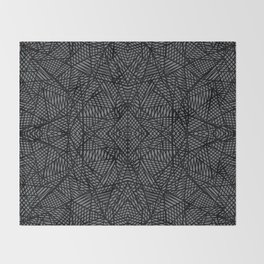 Ab Lace Black and Grey Throw Blanket