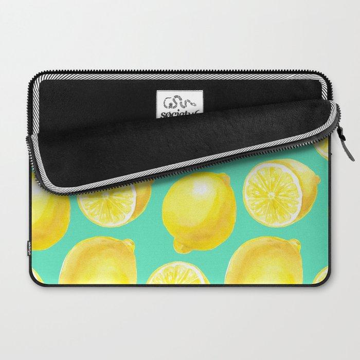 Watercolor lemons pattern Laptop Sleeve