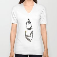 soul eater V-neck T-shirts featuring Tsubaki Nakatsukasa soul eater by Rebecca McGoran