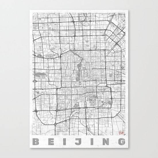 Beijing Map Line Canvas Print