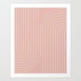 Minimal Line Curvature - Vintage Pink Art Print