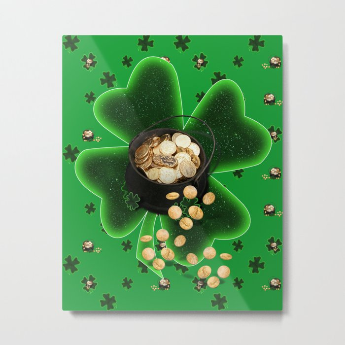 Four Leaf Clovers and Pots of Gold Metal Print