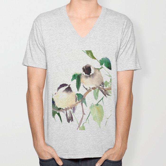 Chickadees, birds on tree, bird design neutral colors Unisex V-Neck