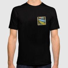 Grunge sticker of Aruba flag MEDIUM Black Mens Fitted Tee