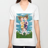 gemini V-neck T-shirts featuring Gemini by Paula Ellenberger