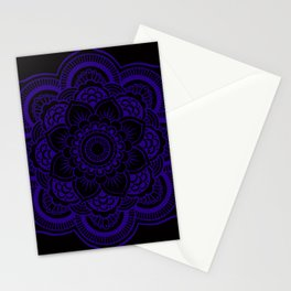 Mandala Deep Indigo Blue Black Stationery Cards