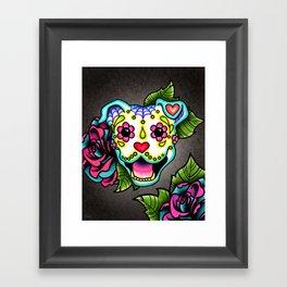 Smiling Pit Bull in White - Day of the Dead Pitbull Sugar Skull Framed Art Print