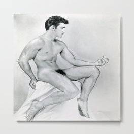 Supurb Nude Male Art Study Metal Print