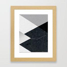 Geometrics - marble & silver Framed Art Print