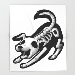 Skeleton dog Throw Blanket