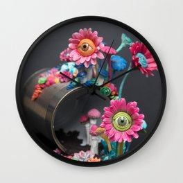 Candi(e)d Watch, Psychedelic Eyed Daisies on a Tin Can | Surrealistic Sculpture by Stephanie Kilgast Wall Clock