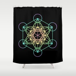 Metatron's Cube- Rainbow on Black Shower Curtain