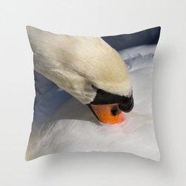 The Preening Swan Throw Pillow