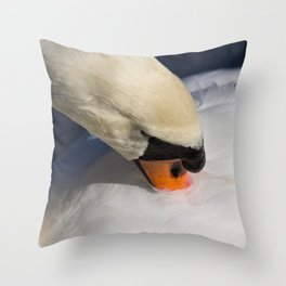 The Preening Swan Throw Pillow