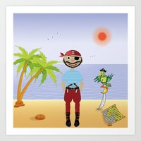 pirate Art Prints featuring Pirate by MyimagesArt