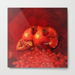 pomegranates in autumn Metal Print