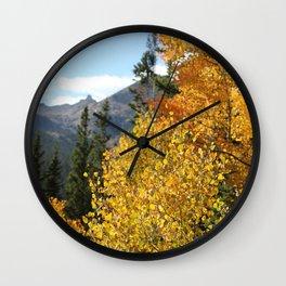 Autumn in the Rocky Mountains at Diamond Lake Trail, Eldora Colorado Wall Clock