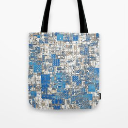 Multi Geometrical Pattern Faded Blues Tote Bag