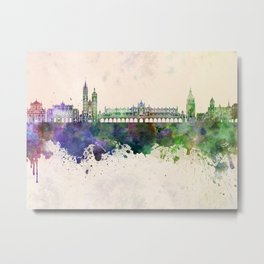 Krakow skyline in watercolor background Metal Print