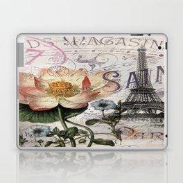 french scripts lotus floral vintage paris eiffel tower Laptop & iPad Skin