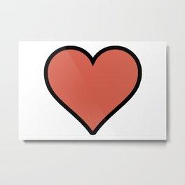 Bold Living Coral Heart Shape Digital Illustration, Minimal Art Metal Print