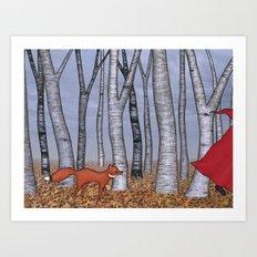 fox trot forest Art Print