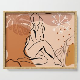 Sensual sitting woman line art, Abstract monstera leaf illustration, Organic floral background Serving Tray