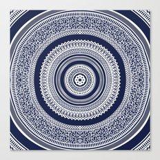 Denim Mandala Canvas Print