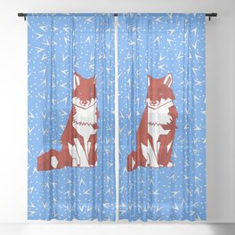Abstract Geometric Fox on Funky Blue Pattern Sheer Curtain