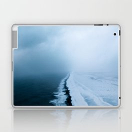 Infinite and minimal black sand beach in Iceland - Landscape Photography Laptop & iPad Skin