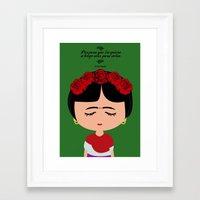 frida kahlo Framed Art Prints featuring Frida Kahlo by Creo tu mundo