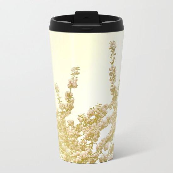 Sunlit Cherry Blossoms - Dreamy Floral Photography - Flower Art Prints, Apparel, Accessories... Metal Travel Mug