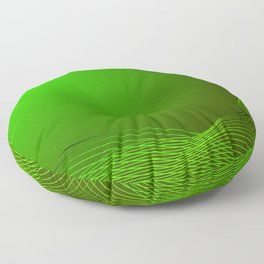 Greeting card of green lines made from smoke on a green background. Floor Pillow