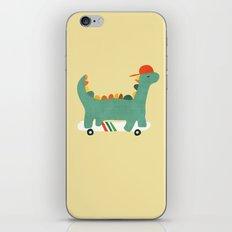Dinosaur on retro skateboard iPhone & iPod Skin