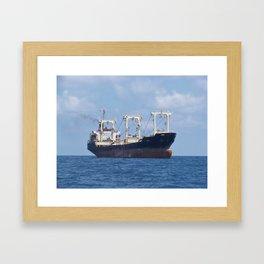 Cargo Ship In The Black Sea Framed Art Print