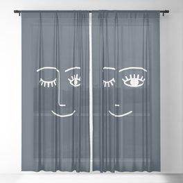 Wink (Annapolis Blue) Sheer Curtain