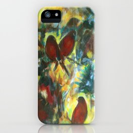 """Waiting In Trees"" painting of robins in forest iPhone Case"