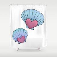 seashell Shower Curtains featuring Seashell 💗 by Ana Turrubiates