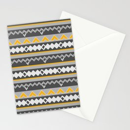 Gray stripes and native shapes Stationery Cards