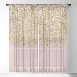 Pink and Gold Glitter Sheer Curtain