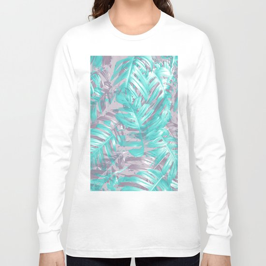 Teal and Silver foliage Long Sleeve T-shirt