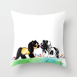 Ponies in Love Throw Pillow