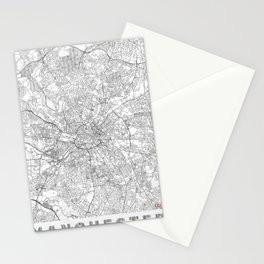Manchester Map Line Stationery Cards