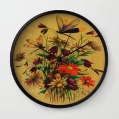 Stained Glass Dragonflies & Flowers Wall Clock
